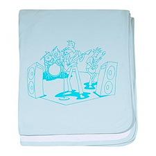 Light Blue Cartoon Rock Band baby blanket
