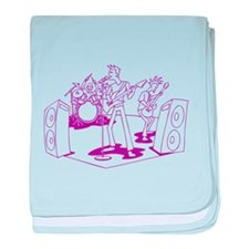 Purple Cartoon Rock Band baby blanket