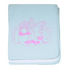 Pink Cartoon Rock Band baby blanket