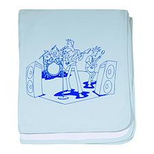 Blue Cartoon Rock Band baby blanket