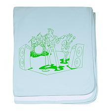 Green Cartoon Rock Band baby blanket