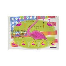Flamingo Lawn Art Rectangle Magnet