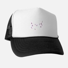 Purple Floating Musical Notes Trucker Hat