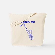 Custom Blue Saxophone Tote Bag