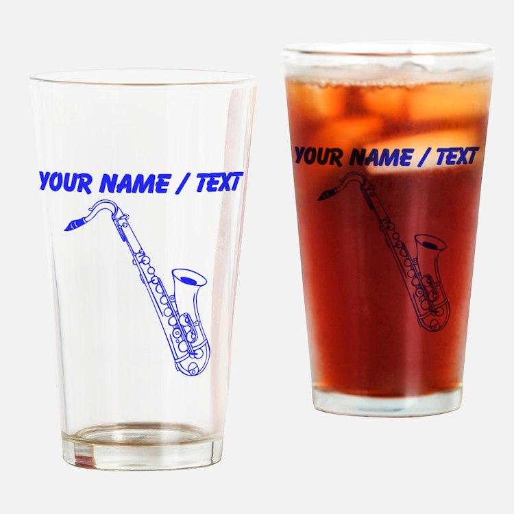 Custom Blue Saxophone Drinking Glass