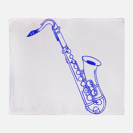 Blue Saxophone Throw Blanket