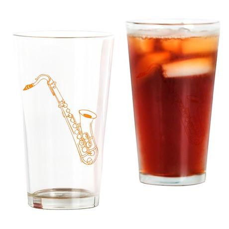 Orange Saxophone Drinking Glass