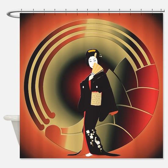 Japanese Woman in an Art Deco World Shower Curtain