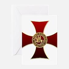 Templar cross and seal Greeting Card