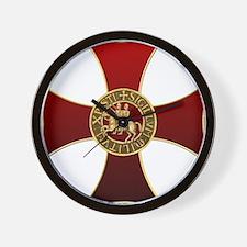 Templar cross and seal Wall Clock