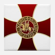 Templar cross and seal Tile Coaster