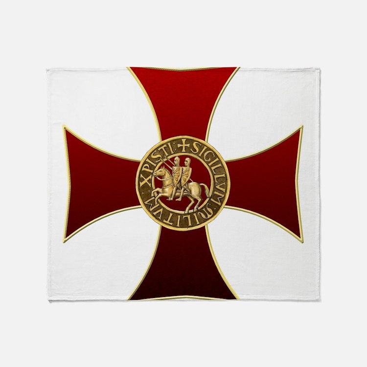 Templar cross and seal Throw Blanket