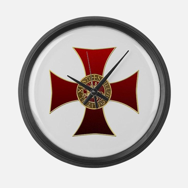 Templar cross and seal Large Wall Clock