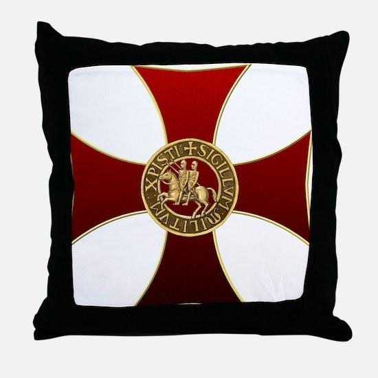Templar cross and seal Throw Pillow