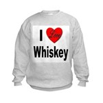I Love Whiskey (Front) Kids Sweatshirt