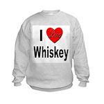 I Love Whiskey (Front) Kids Sweatshirt
