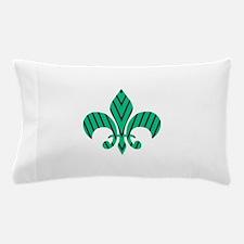 Green and Blue Strip Fleur-de-lis Pillow Case