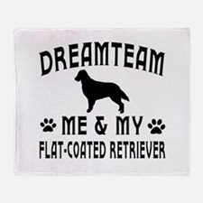 Flat-Coated Retriever Dog Designs Throw Blanket