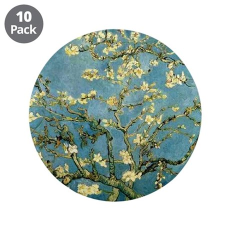 """Van Gogh Blossoming Almond Tree 3.5"""" Button (10 pa"""