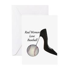 Real Women Love Baseball Greeting Card