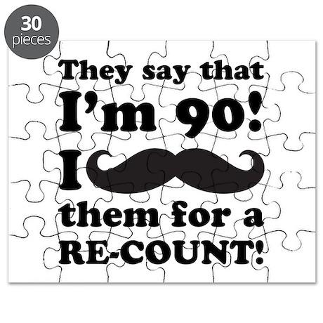 Funny Mustache 90th Birthday Puzzle