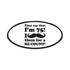 Funny Mustache 75th Birthday Patches