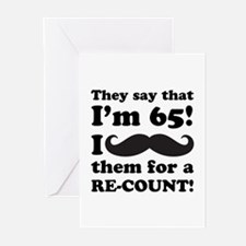 Funny Mustache 65th Birthday Greeting Cards (Pk of