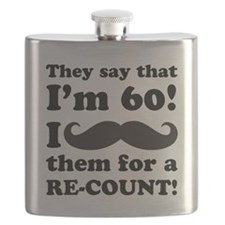 Funny Mustache 60th Birthday Flask