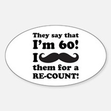 Funny Mustache 60th Birthday Decal