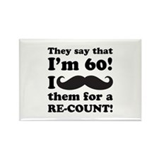 Funny Mustache 60th Birthday Rectangle Magnet (100