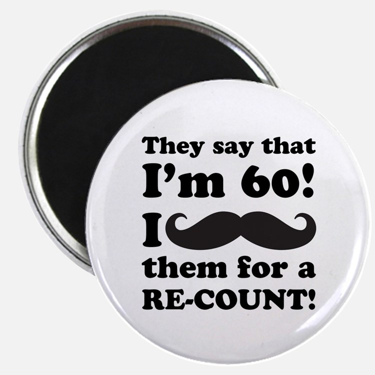 """Funny Mustache 60th Birthday 2.25"""" Magnet (100 pac"""
