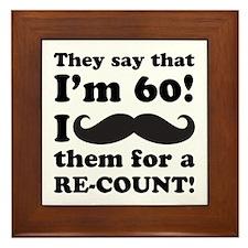 Funny Mustache 60th Birthday Framed Tile