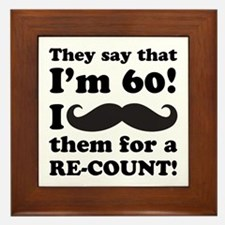 Funny Mustache 60th Birthday Framed Tile