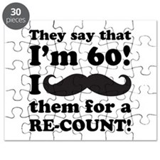 Funny Mustache 60th Birthday Puzzle