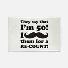 Funny Mustache 50th Birthday Rectangle Magnet