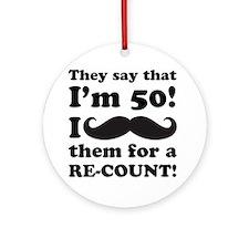Funny Mustache 50th Birthday Ornament (Round)