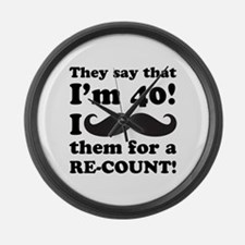 Funny Mustache 40th Birthday Large Wall Clock