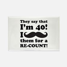Funny Mustache 40th Birthday Rectangle Magnet