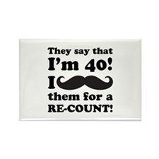Funny Mustache 40th Birthday Rectangle Magnet (100
