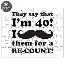 Funny Mustache 40th Birthday Puzzle