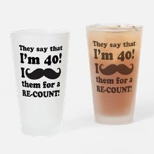 Funny Mustache 40th Birthday Drinking Glass