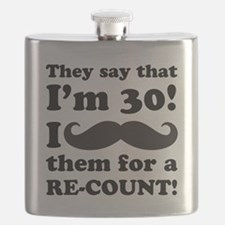 Funny Mustache 30th Birthday Flask