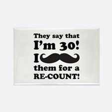 Funny Mustache 30th Birthday Rectangle Magnet