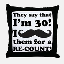 Funny Mustache 30th Birthday Throw Pillow