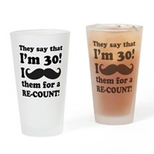 Funny Mustache 30th Birthday Drinking Glass