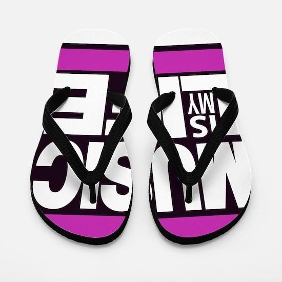 music is my life pink Flip Flops