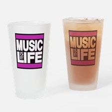 music is my life pink Drinking Glass