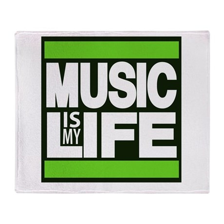 music is my life green Throw Blanket