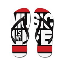 music is my life red Flip Flops