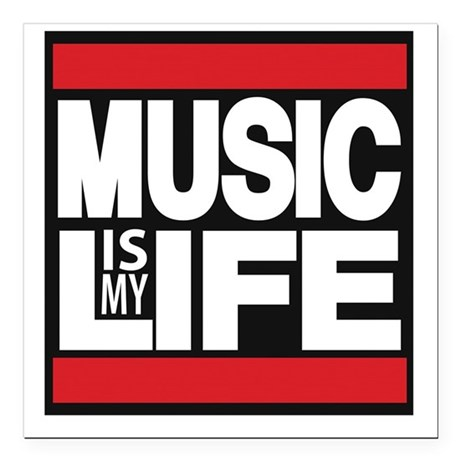"""music is my life red Square Car Magnet 3"""" x 3"""""""